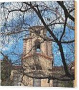 University Tower Mason Hall - Pomona College - Framed By Trees Wood Print