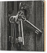 Unlocked - Keys And Opened Door Wood Print
