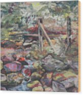 Unseated On Trout Brook Wood Print