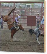 Bronco Rider Seven Wood Print