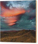Unusual Clouds Catch Sunset Wood Print