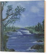 Landscape With Waterfall Wood Print