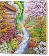 Up The Garden Path Wood Print by Debbie  Diamond