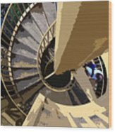 Up The Spiral Staircase Wood Print