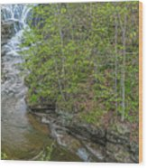 Upper And Middle Falls At Mine Kill State Park Wood Print