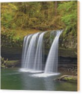 Upper Butte Creek Falls In Autumn Wood Print