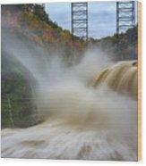 Upper Falls After A Storm Wood Print