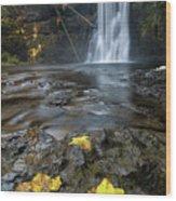 Upper North Falls In Autumn Wood Print