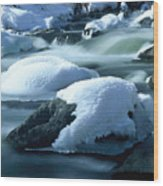 Upper Provo River In Winter Wood Print