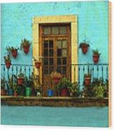 Upper Window In Turqoise Wood Print