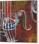 Upright Bass Close Up Wood Print