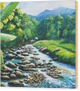Upriver Wood Print