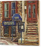 Upstairs Jazz Bar And Grill Montreal Wood Print by Carole Spandau