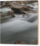 Upturned Rock In A Flowing Stream Wood Print