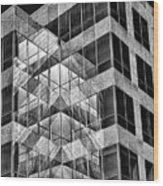 Urban Abstract - Mirrored High-rise Building In Black And White Wood Print