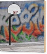 Urban Basketball Hoop Inner City Innercity Wall And Asphalt In O Wood Print