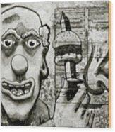 Urban Clown Wood Print