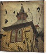 Urban Crows Wood Print