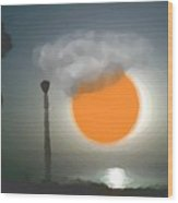 Urban Sea Sunset  Wood Print