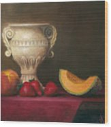 Urn With Fruit Wood Print