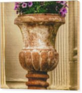 Urn With Purple Flowers Wood Print