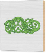 Urnes Snake Extended Stomach Retro Wood Print