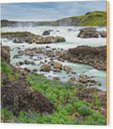 Urridafoss Waterfall And River Pjorsa In Iceland Wood Print