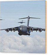 U.s. Air Force C-17 Globemasters Wood Print