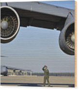 U.s. Air Force Crew Chief Performs Wood Print