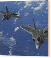 U.s. Air Force F-22 Raptors In Flight Wood Print