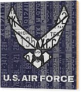 Us Air Force Logo Recycled Vintage License Plate Art Wood Print