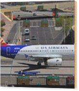 Us Airways Airbus A319-132 N826aw Arizona At Phoenix Sky Harbor March 16 2011 Wood Print