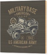 Us American Amry Jeep Wood Print
