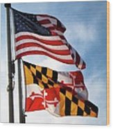 Us And Maryland Flags Wood Print