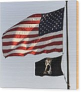Us And Pow-mia Flags Wood Print
