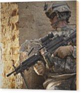 U.s. Army Ranger In Afghanistan Combat Wood Print
