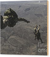 U.s. Army Soldiers Conduct A Halo Jump Wood Print