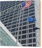 Us Bank With Flags Wood Print