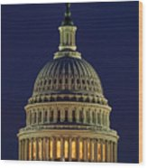 U.s. Capitol At Night Wood Print