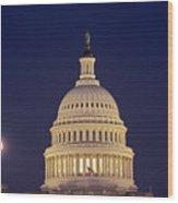 U.s. Capitol Building Lit Wood Print