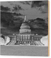 Us Capitol Washington Dc Negative Wood Print