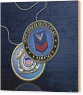 U.s. Coast Guard Petty Officer Second Class - Uscg Po2 Rank Insignia Over Blue Velvet Wood Print