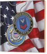 U. S. Coast Guard Petty Officer Second Class - Uscg Po2 Rank Insignia Over Us Flag Wood Print