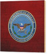 U. S. Department Of Defense - D O D Emblem Over Red Velvet Wood Print