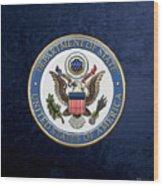 U. S. Department Of State - D O S Emblem Over Blue Velvet Wood Print