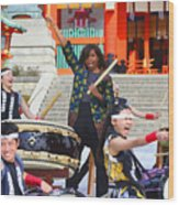 U.s. First Lady Michelle Obama  Plays The Taiko Drum  Wood Print