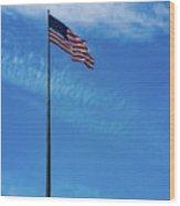 Us Flag At Liberty Island Wood Print