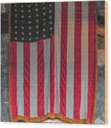 Us Flag At Whiteface Mountain Ny Wood Print
