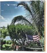 US Flag in the Abaco Islands, Bahamas Wood Print