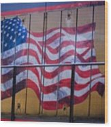 Us Flag On Side Of Freight Engine Wood Print